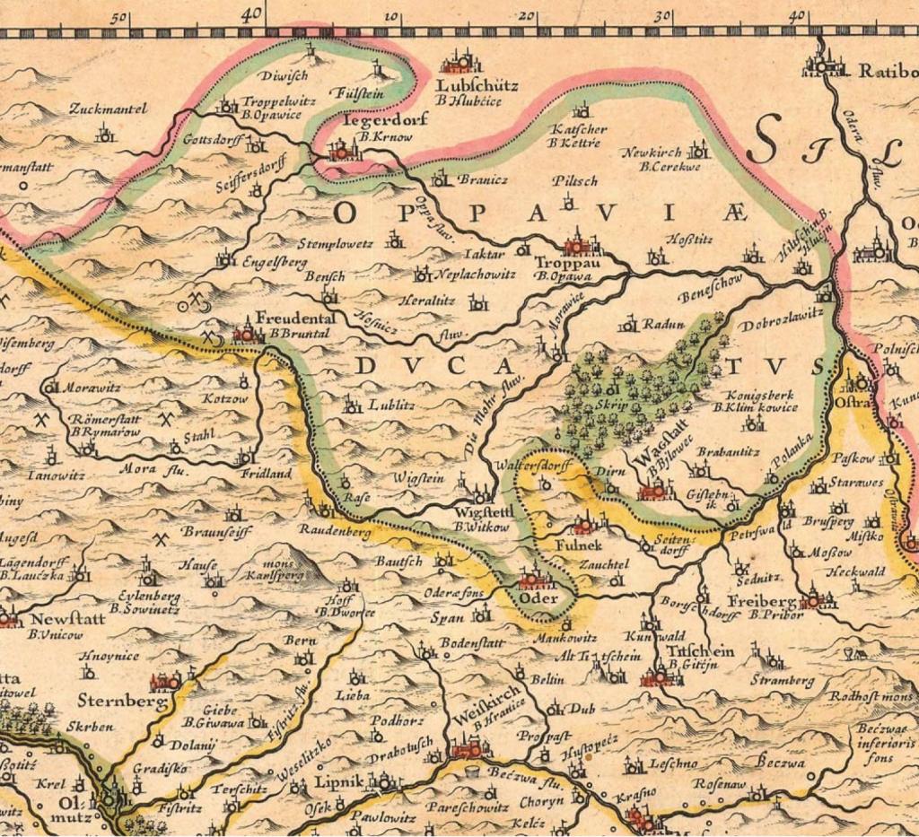 Výřez z Komenského mapy Moravy
