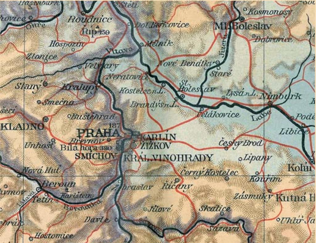 Mapa království českého – výřez, původní velikost