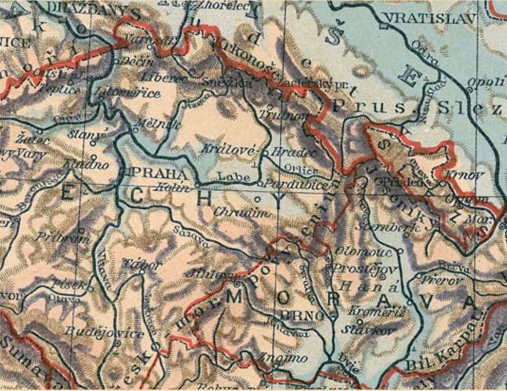 Mapa Rakousko-uherského mocnářství – výřez, původní velikost