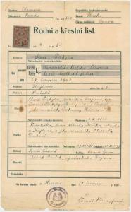 Obr. 3: Rodný list Jana Přibyly (zmenšeno)