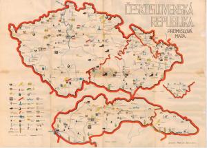 Obr. 5: Mapa ČESKOSLOVENSKÁ REPUBLIKA. PRŮMYSLOVÁ MAPA. (zmenšeno)