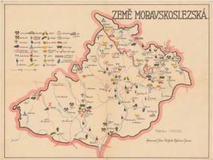 Obr. 8b: Mapa ZEMĚ MORAVSKOSLEZSKÁ. (zmenšeno)