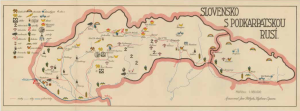 Obr. 9: Mapa SLOVENSKO S PODKARPATSKOU RUSÍ. (zmenšeno)